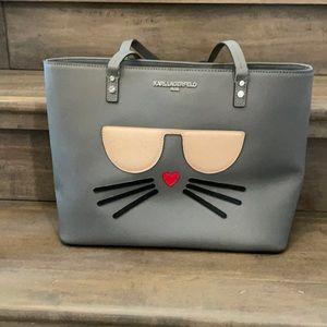 Karl Lagerfeld Maybelle Saffiano Cat Grey Purse